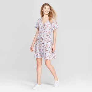 Xhilaration Short Sleeve Blue Floral Dress L